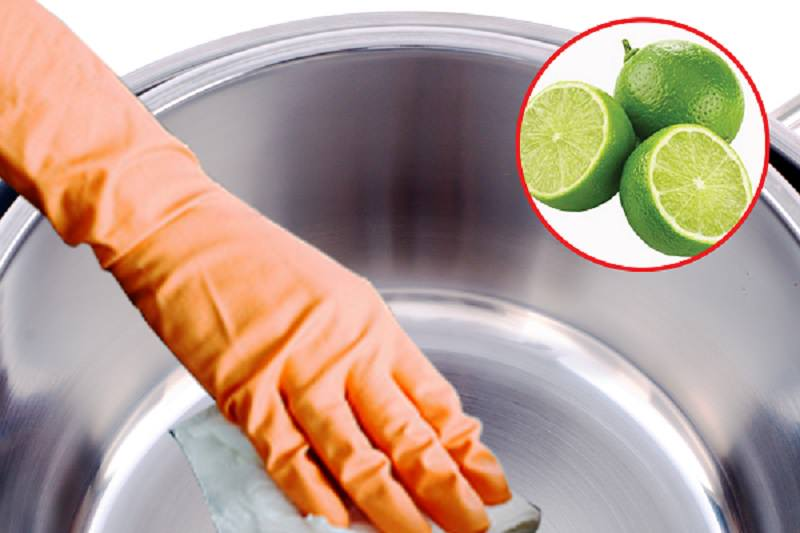 dùng chanh làm sạch bề mặt inox
